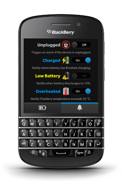 Charger Alert on BlackBerry Q10 screenshot